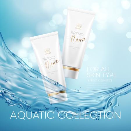 Design cosmetics product advertising. Vector illustration Vettoriali
