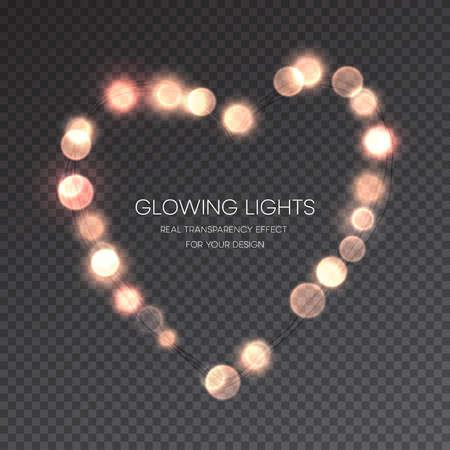 transparence: Valentines Day Glowing lights heart on transparence background. Vector illustration