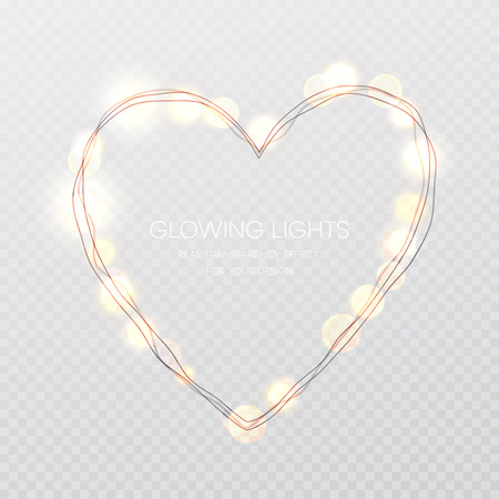 Valentines Day Glowing lights heart on transparence background. Vector illustration