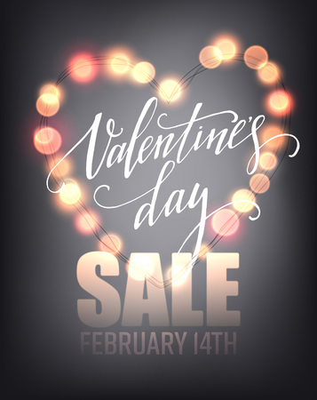 february: Valentines day sale, poster template on abstract background with hearts and bokeh circles. Vector illustration