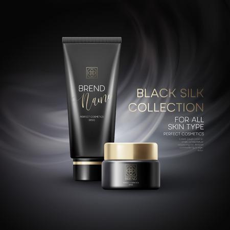 黒い背景に化粧品製品広告をデザインします。ベクトル図  イラスト・ベクター素材