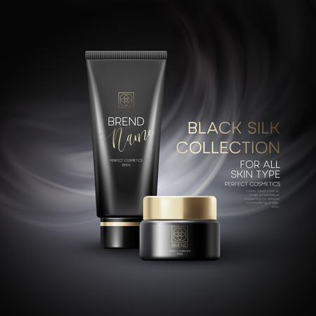 Design cosmetics product advertising on black background. Vector illustration