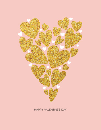 valentines background: Happy valentines day love greeting card with white low poly style heart shape in golden glitter background. Vector illustration Illustration