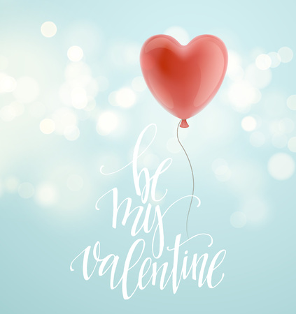red shape: Valentines day greeting card with red heart shape balloon. Vector illustration Illustration