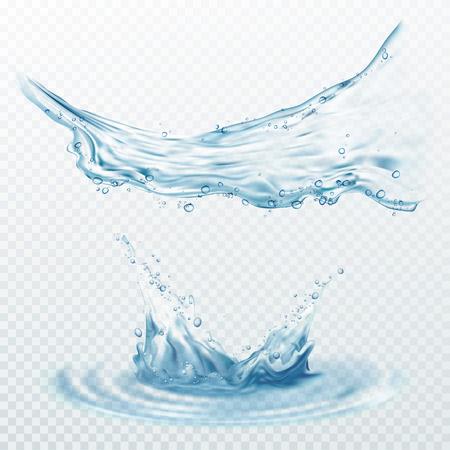Salpicaduras de agua transparente, gotas aisladas sobre fondo transparente. Ilustración de vector EPS10