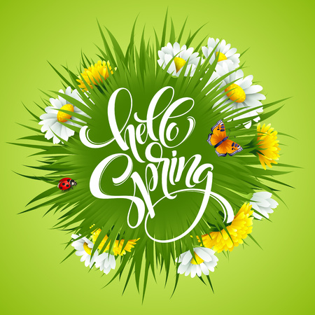 Inscription Hello Spring Hand Lettering on background with flowers. Vector illustration Illustration