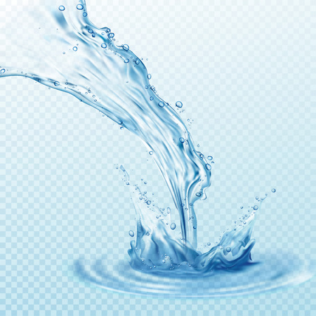 water flowing: Transparent water splashes, drops isolated on transparent background.