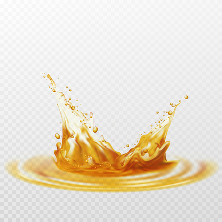 Beer foam splash of white and yellow color on a transparent background. Vector illustration