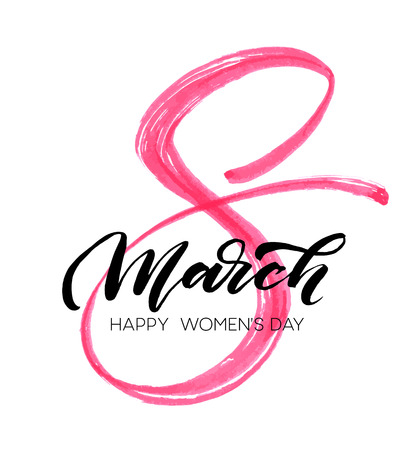 March 8 Happy womans day watercolor lettering greeting card. Vector illustration Stock Illustratie