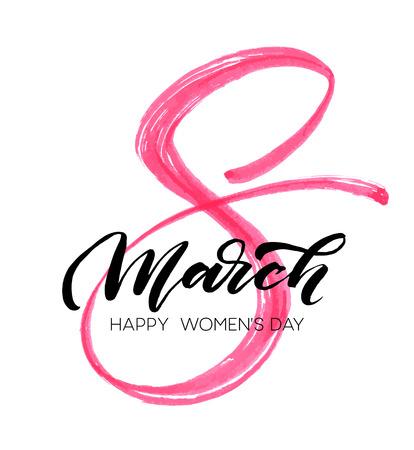 De marzo día de la acuarela tarjeta de felicitación de las letras 8 Happy mujer. ilustración vectorial