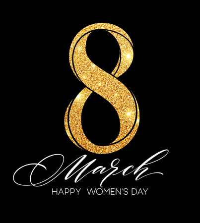 happy woman: 8 March celebration with eight symbol made of gold sparkling glitters. Womens Day concept design. Vector illustration