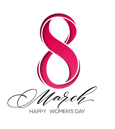 March 8 Happy womans day lettering greeting card. Vector illustration