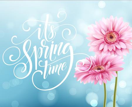 Gerbera Flower Background and Spring Lettering. Vector Illustration