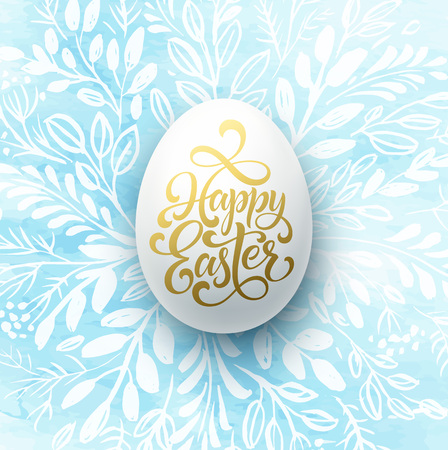 Happy Easter Lettering on the watercolor wreath with eggs hand drawn background. Vector illustration