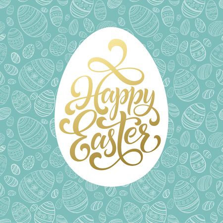 Happy Easter Golden lettering on seamless Egg background. Vector illustration
