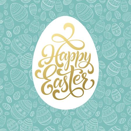 Happy Easter Golden lettering on seamless Egg background. Vector illustration