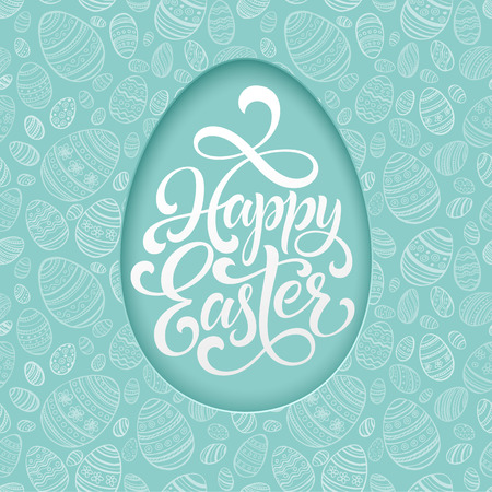Happy Easter lettering on blue seamless Egg background. Vector illustration Çizim
