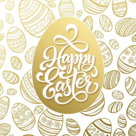 Happy Easter greeting lettering on golden seamless egg pattern. Vector illustration Illustration