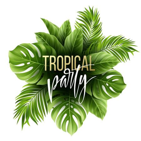 Patrón de hojas tropicales de verano con hojas de palmeras exóticas. Plantilla de flyer de fiesta Letras de escritura a mano. Ilustración vectorial Ilustración de vector