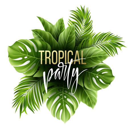 Summer tropical leaf pattern with exotic palm leaves. Party flyer template. Handwriting lettering. Vector illustration