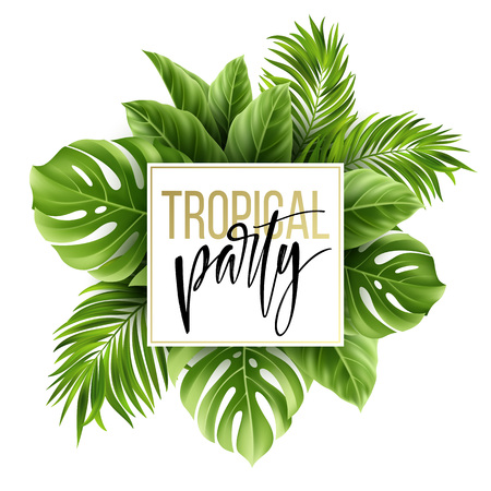 Modèle de feuilles tropicales d'été avec des feuilles de palmier exotiques. Modèle de prospectus de fête. Lettre à l'écriture manuscrite. Illustration vectorielle