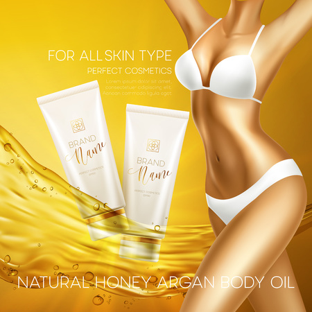 woman hygiene protection: Sun protection cosmetic products design template. Vector illustration