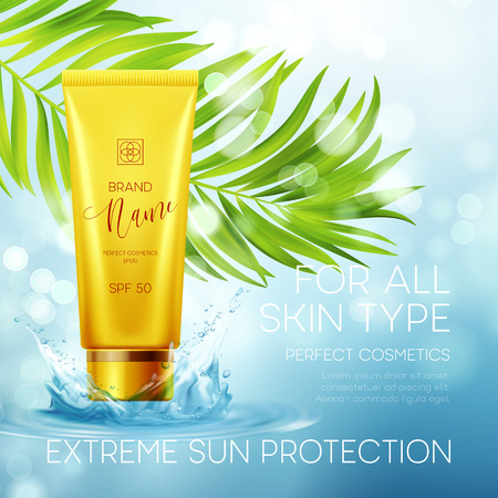 Sun protection cosmetic products design template. Vector illustration