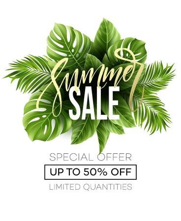 販売バナー、ヤシの葉、ジャングルの葉と手書きの文字とポスター。花の熱帯の夏の背景。ベクトル図