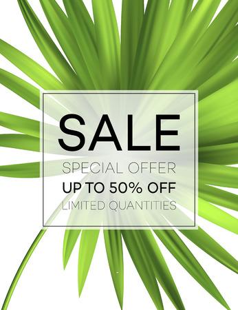 Verkauf Banner oder Poster mit Palmblättern und Dschungelblatt. Floral tropischen Sommer Hintergrund. Vektor-Illustration Standard-Bild - 76643306