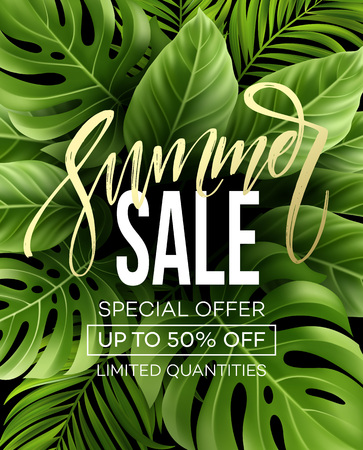 Sale banner, poster with palm leaves, jungle leaf and handwriting lettering. Floral tropical summer background. Vector illustration Фото со стока - 76643308
