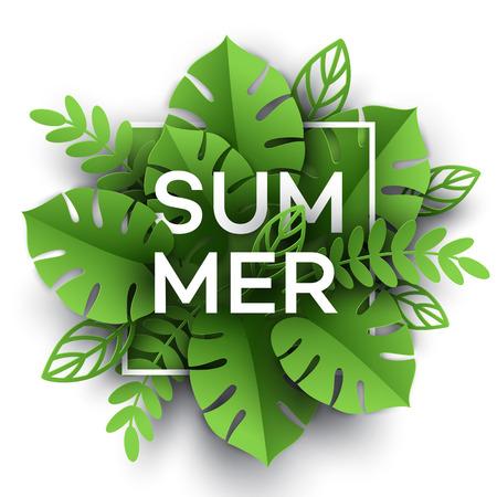 夏のトロピカル リーフ。紙のカット スタイル。ベクトル図