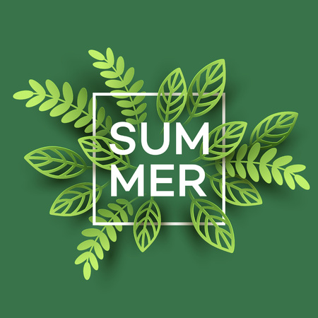 Summer Tropical Leaf. Paper cut style. Vector illustration