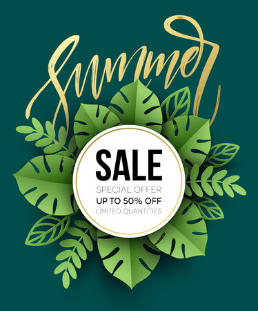 Summer sale poster. Tropical Leaf. Paper cut style. Vector illustration Çizim