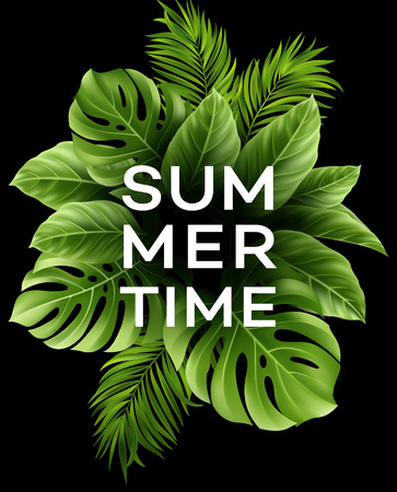 熱帯のヤシの葉と夏のポスター。ベクトル図  イラスト・ベクター素材