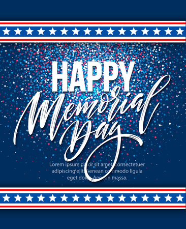 national hero: Happy Memorial Day card. National american holiday. Festive poster or banner with hand lettering. Vector illustration