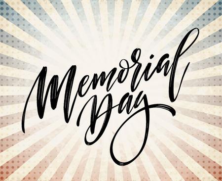 Happy Memorial Day-kaart. Nationale Amerikaanse feestdag. Feestelijke poster of banner met de hand belettering. Vector illustratie