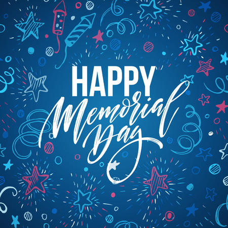 national holiday: Happy Memorial Day card. National american holiday. Festive poster or banner with hand lettering. Vector illustration