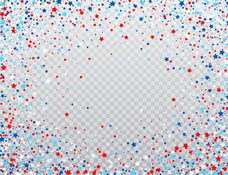 VS viering confetti sterren in nationale kleuren voor Amerikaanse onafhankelijkheidsdag geïsoleerd op achtergrond. Vector illustratie Vector Illustratie