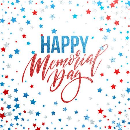 Carte Happy Memorial Day. Vacances en Amérique du Nord. Affiche ou bannière festive avec lettrage à la main. Illustration vectorielle