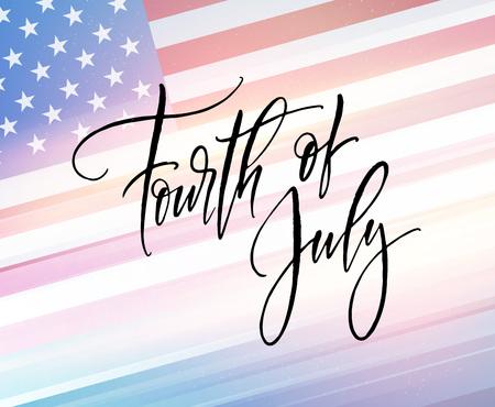 Vierde juli viering banner, wenskaart ontwerp. Gelukkige onafhankelijkheidsdag van de hand van de Verenigde Staten van Amerika het van letters voorzien. VS vrijheid achtergrond. Vector illustratie