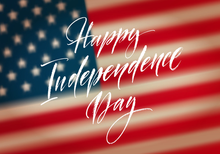 Fourth of July celebration banner, greeting card design. Happy independence day of United States of America hand lettering. USA freedom background. Vector illustration Ilustração