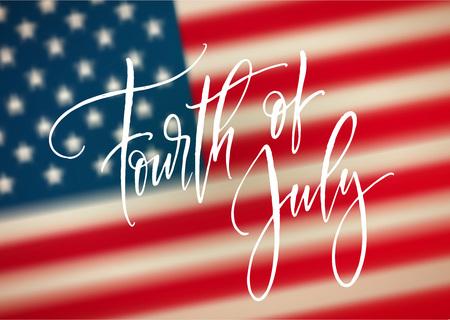 네 번째 7 월 축 하 배너, 인사말 카드 디자인. 미국 손 글자의 행복 독립 날입니다. 미국 자유 배경입니다. 벡터 일러스트 레이 션
