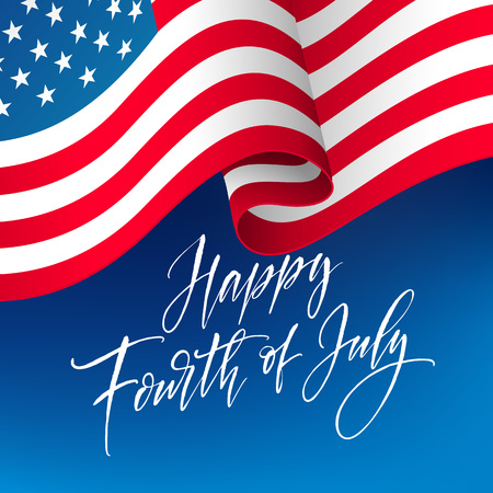 Fourth of July celebration banner, greeting card design. Happy independence day of United States of America hand lettering. USA freedom background. Vector illustration Vettoriali