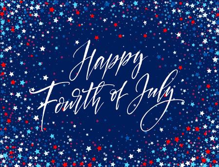7 月 4 日のお祝いバナー、グリーティング カードのデザイン。幸せな独立記念日アメリカ合衆国の手レタリングします。アメリカ自由の背景。ベク