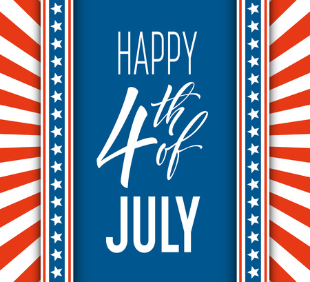 Fourth of July celebration banner, greeting card design. Happy independence day of United States of America hand lettering. USA freedom background. Vector illustration Illustration