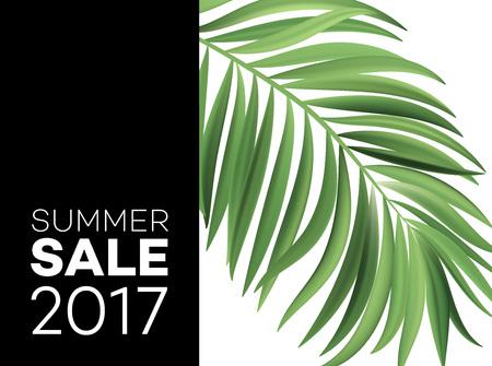 Verkoopbanner, poster met palmbladeren, jungleblad en handschriftletters. Bloemen tropische zomer achtergrond. Vector illustratie