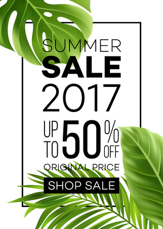 Sale banner, poster with palm leaves, jungle leaf and handwriting lettering. Floral tropical summer background. Vector illustration