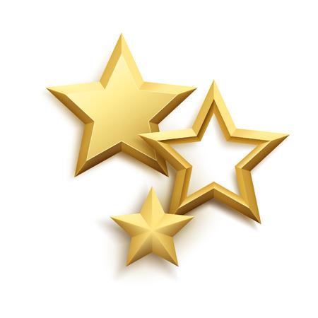Realistic metallic golden star background. Vector illustration