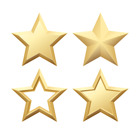 Set van Realistische metallic gouden ster geïsoleerd op een witte achtergrond. Vector illustratie