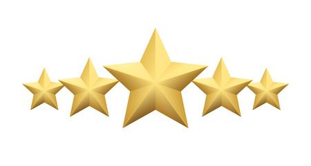 Set of Realistic metallic golden star isolated on white background. Vector illustration Illustration